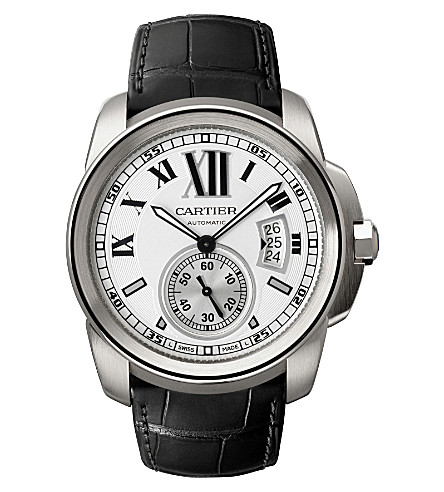 CARTIER Calibre de Cartier stainless steel and leather watch