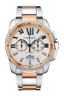 CARTIER Calibre de Cartier 18ct pink-gold and stainless steel watch