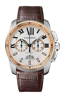 CARTIER Calibre de Cartier stainless steel, 18ct pink-gold and leather watch