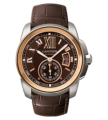 CARTIER Calibre de Cartier 18ct pink-gold and leather watch