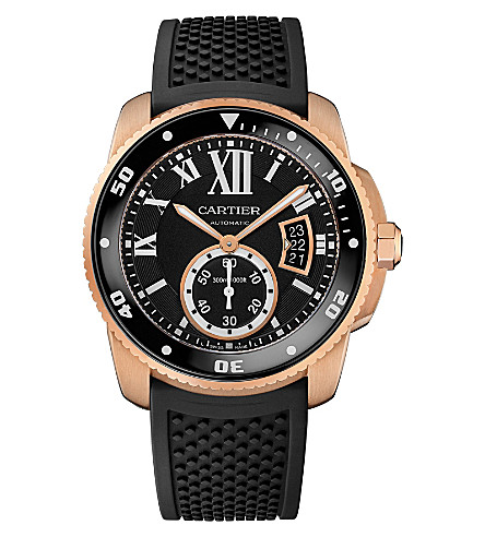 CARTIER Calibre de Cartier 18ct pink-gold diver watch
