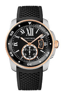 CARTIER Calibre de Cartier 18ct pink-gold and stainless steel diver watch