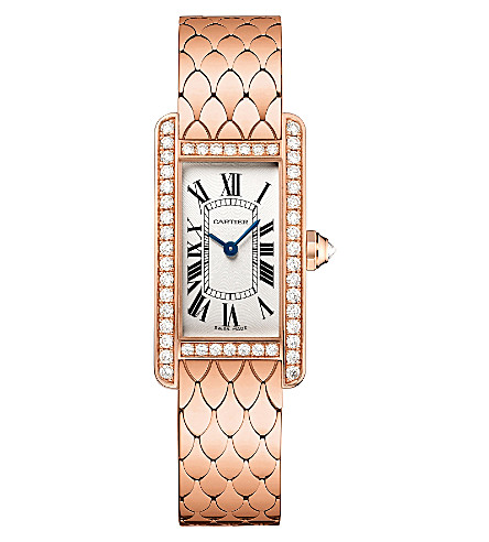 CARTIER Tank Américaine 18ct pink-gold and diamond small watch