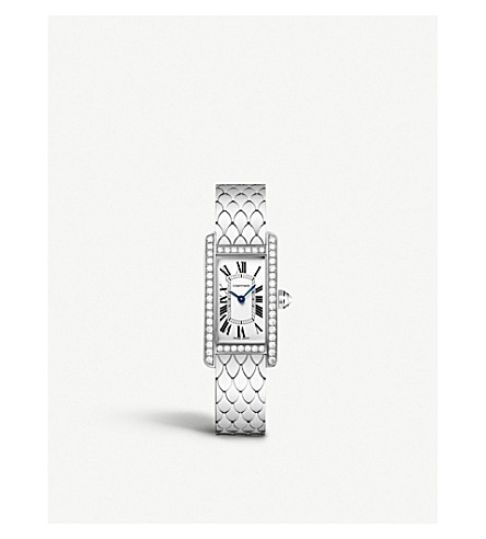 CARTIER Tank Américaine 18ct white-gold and diamond small watch
