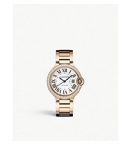 CARTIER Ballon Bleu de Cartier 18ct pink-gold, diamond and sapphire watch