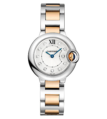 CARTIER Ballon Bleu de Cartier 18ct pink-gold, steel and diamond watch
