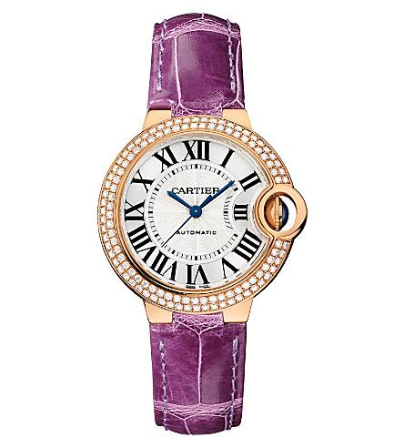 CARTIER Ballon Bleu de Cartier 18ct pink-gold, diamond and leather watch