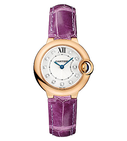 CARTIER Ballon Bleu de Cartier 18ct pink-gold, diamond and leather watch