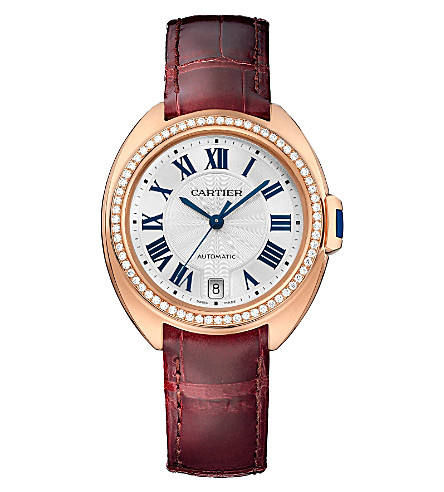CARTIER Clé de Cartier 35mm 18ct pink-gold, diamond and alligator-skin watch