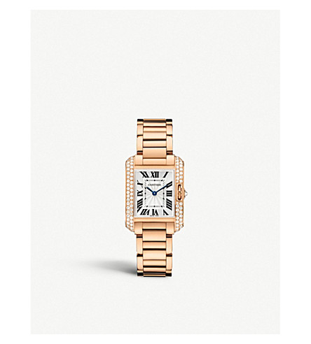 CARTIER Tank Anglaise 18ct pink-gold and diamond small watch