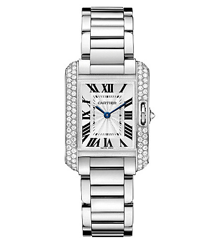 CARTIER Tank Anglaise 18ct white-gold and diamond small watch