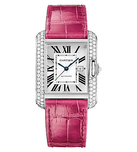 CARTIER Tank Anglaise 18ct white-gold and leather large watch