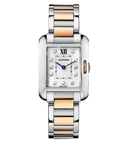 CARTIER Tank Anglaise 18ct pink-gold, steel and diamond small watch