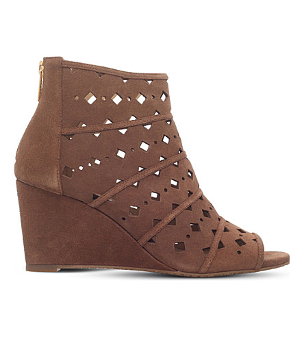 MICHAEL MICHAEL KORS Uma suede cutout booties (Mid+brown