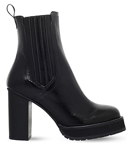 KG KURT GEIGER Storm patent-leather heeled boots (Black