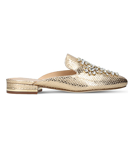 MICHAEL MICHAEL KORS Edie metallic embellished leather sliders (Gold