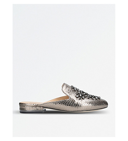 MICHAEL MICHAEL KORS Edie metallic embellished leather mules (Pewter