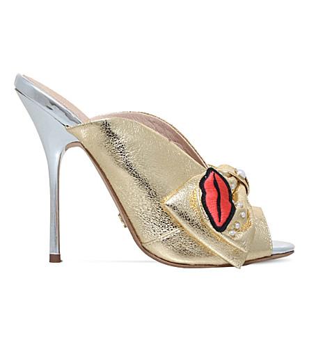 KG KURT GEIGER Harmony embellished fabric mules (Gold+comb