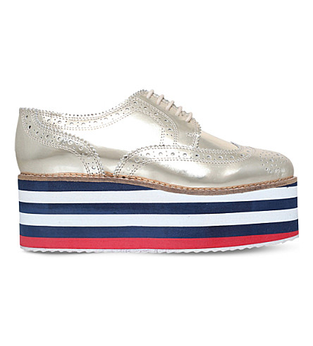 KG KURT GEIGER Klash metallic brogue flatforms (Gold
