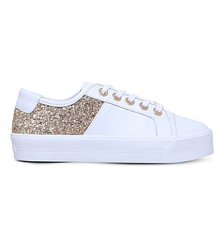 CARVELA Louise leather and glitter trainers (White/oth