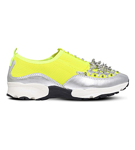 CARVELA Lola sequined mesh trainers (Yellow
