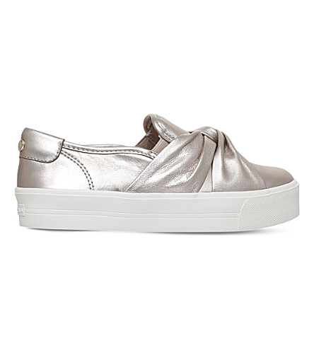 CARVELA Loren leather knotted sneakers (Pewter