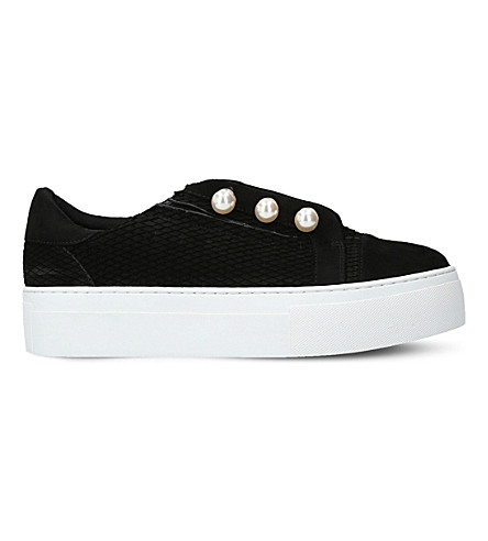 KG KURT GEIGER Orla textured-leather flatform trainers (Black