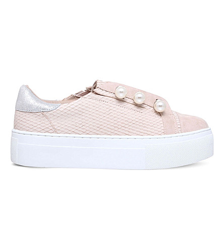 KG KURT GEIGER Orla textured-leather flatform trainers (Nude