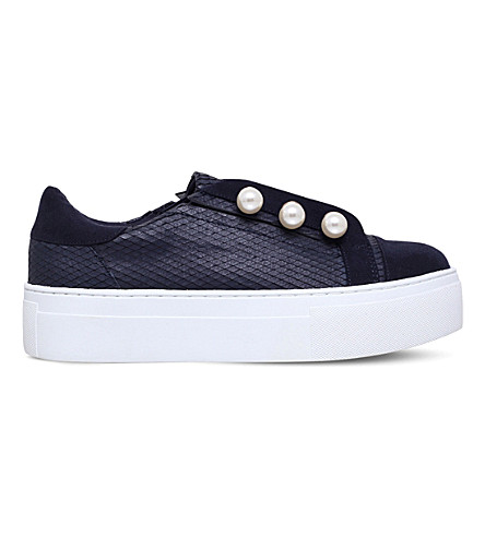 KG KURT GEIGER Orla textured-leather flatform trainers (Navy