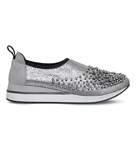 KG KURT GEIGER Ophelia metallic slip-on trainers (Silver