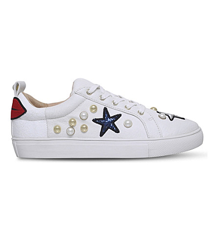 KG KURT GEIGER Lippy embellished faux-leather trainers (White