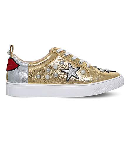 KG KURT GEIGER Lippy embellished metallic trainers (Gold+comb