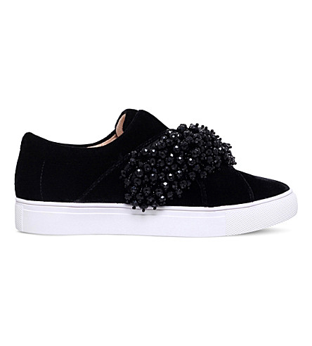 KG KURT GEIGER Ocean velvet slip-on trainers (Black