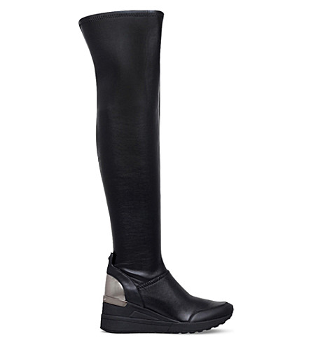 MICHAEL MICHAEL KORS Ace leather overtheknee wedge boots Black  PreviousNext