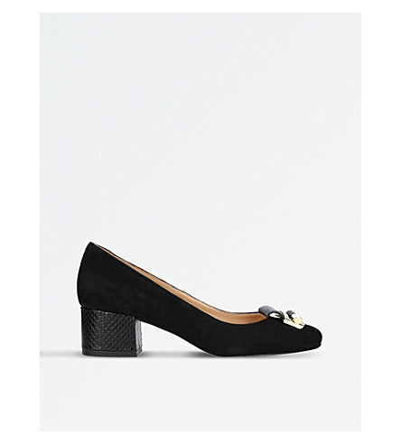 MICHAEL MICHAEL KORS Gloria suede and reptile-print courts (Black