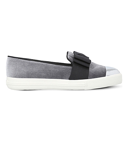 MISS KG Lisa bow-detail velvet trainers (Grey
