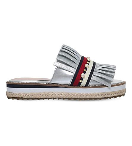 KG KURT GEIGER Madamme pleated-leather slider sandals (Silver