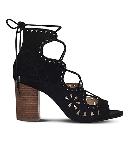 NINE WEST Gweniah suede laser-cut sandals (Black