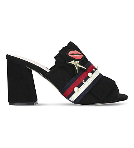 KG KURT GEIGER Mistres appliqué-detail suede heeled sandals (Black