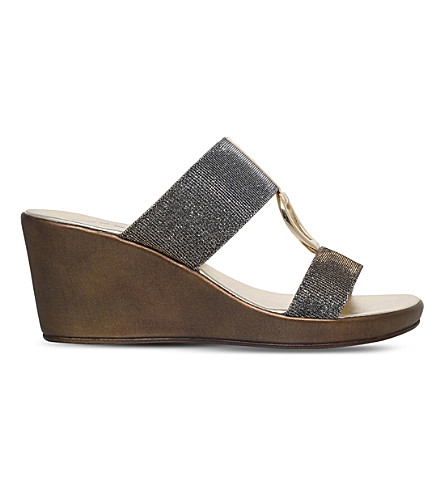 CARVELA COMFORT Salt metallic wedge sandals (Metal+comb