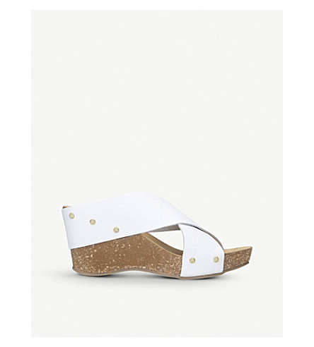 CARVELA COMFORT Sooty leather and cork wedge sandals (White