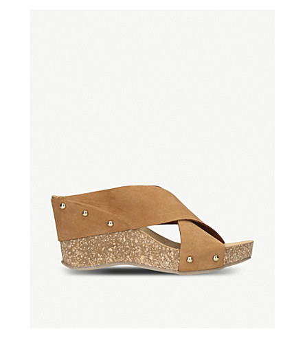 CARVELA COMFORT Sooty suede and cork wedge sandals (Tan