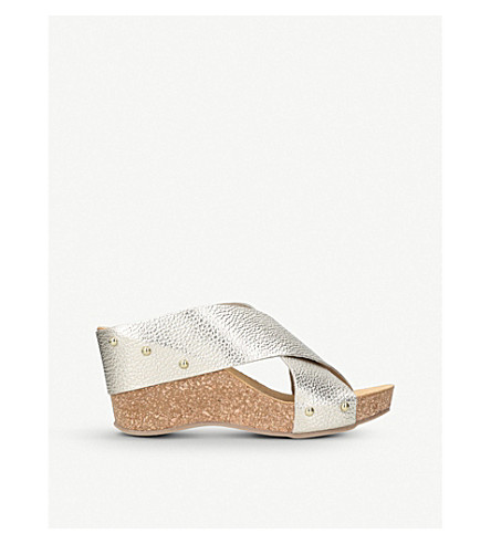 CARVELA COMFORT Sooty metallic leather and cork wedge sandals (Gold