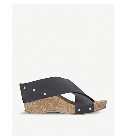 CARVELA COMFORT Sooty suede wedge sandal (Navy