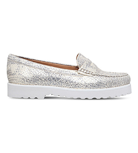 CARVELA COMFORT Chaz reptile-effect leather penny loafers (Gold
