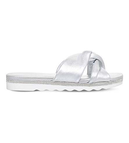NINE WEST Strobe embellished sliders (Silver