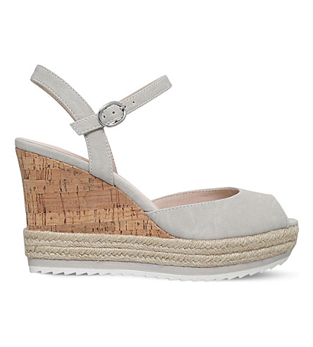 NINE WEST Debi peep-toe cork wedges (Grey/light