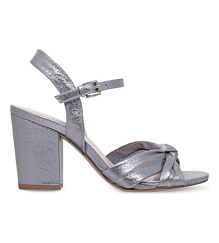 NINE WEST Starrynight peep-toe metallic sandals (Silver+com