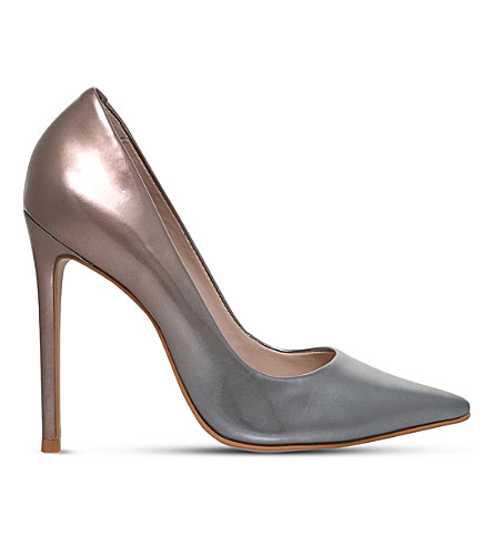 CARVELA Alice metallic-leather courts (Silver+com