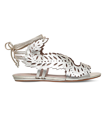 KG KURT GEIGER Malta metallic leather flat sandals (Gold